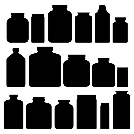 Sport nutrition healthy food fitness diet black silhouette bodybuilding proteine power drink athletic supplement energy vector illustration.