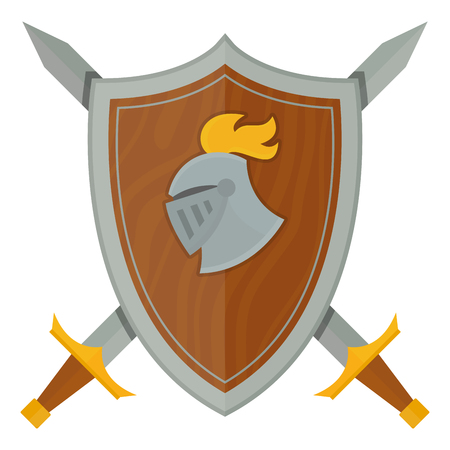 Knights shield medieval weapons heraldic knighthood protection medieval kingdom gear knightly vector illustration. Illustration