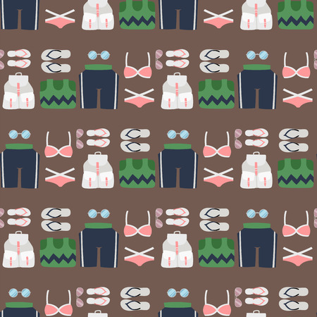 Beachwear bikini cloth fashion looks vacation lifestyle women sea light beauty clothes seamless pattern background vector illustraton 向量圖像