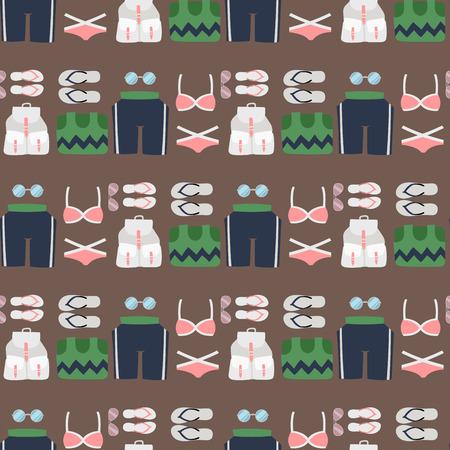 De de doekmanier van de strandkledingsbikini kijkt van overzeese van vrouwen de vakantielevensstijl lichte schoonheid kleedt naadloze patroon vectorillustraton als achtergrond Stock Illustratie