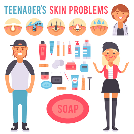 Facial care skin problems vector clean humancosmetic pimple dermatology instability facial skinny care teenager defects elements illustration. Фото со стока