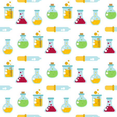Chemical laboratory flask glassware tube liquid biotechnology analysis medical scientific equipment chemistry lab seamless pattern background vector illustration.