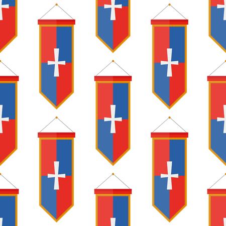 chevaliers drapeaux médiévaux armes à tisser éléphant médiévale blason seamless fond plat illustration vectorielle