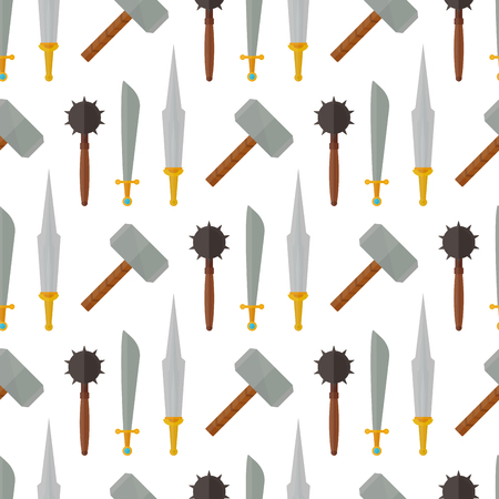 Knights medieval weapons heraldic elements medieval kingdom gear vector illustration. Legendary armored warrior with lance attributes seamless pattern background.