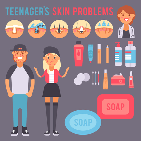 Facial care skin problems vector clean humancosmetic pimple dermatology instability facial skinny care teenager defects elements illustration. Illustration