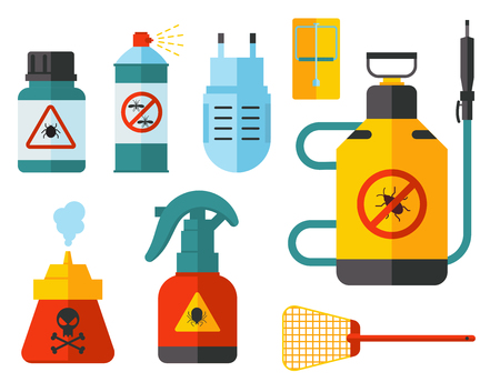 Home pest insect vector control expert vermin exterminator service pest insect thrips equipment flat icons illustration. Professional poison toxic chemical removal tool.