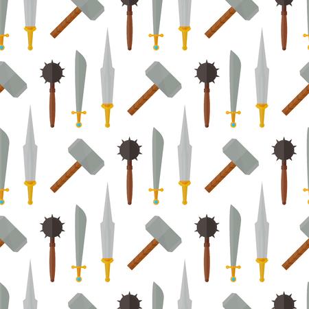 Chevaliers médiévaux armes héraldiques éléments médiéval royaume gear sans soudure de fond illustration vectorielle de fond.