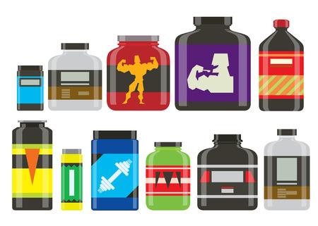 スポーツ栄養健康食品ベクトル フィットネス ダイエット ボディービル proteine パワー スポーツ食品や飲み物運動エネルギー図を補足します。 写真素材 - 91086104