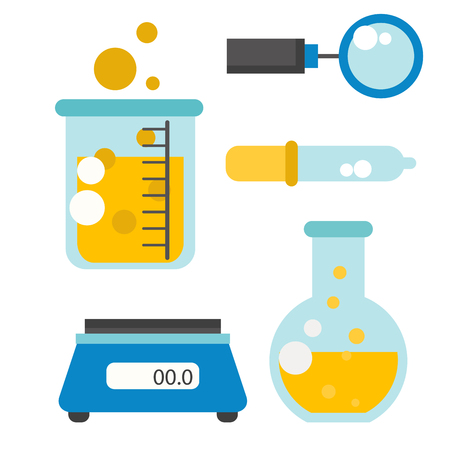 Lab symbols test medical laboratory scientific biology design biotechnology science chemistry icons vector illustration.