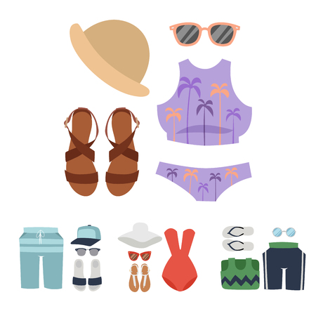 Beachwear bikini vector cloth fashion looks beach sea vacation lifestyle women collection sea light beauty fashioned clothes illustraton