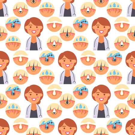 Facial care skin problems clean humancosmetic pimple dermatology instability facial care teenager defects seamless pattern background vector illustration.