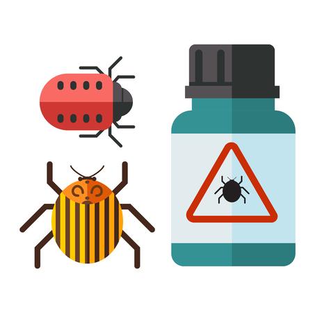 El insecto casero del vector del insecto de la plaga controla el ejemplo plano de los iconos de los insectos del insecto de la plaga del insecto de la plaga del servicio del exterminador de insectos. Foto de archivo - 91172047