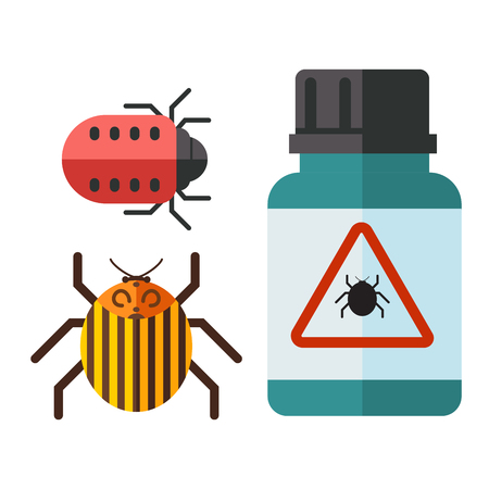 Home pest insect vector control expert vermin exterminator service pest insect thrips equipment flat icons illustration. Stok Fotoğraf - 91172047