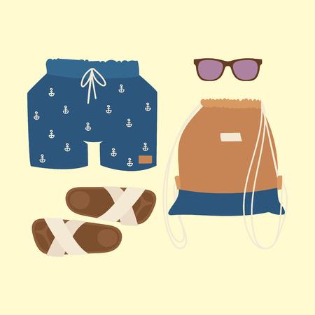Beachwear bikini vector cloth fashion looks beach sea vacation lifestyle women collection sea light beauty fashioned clothes illustraton