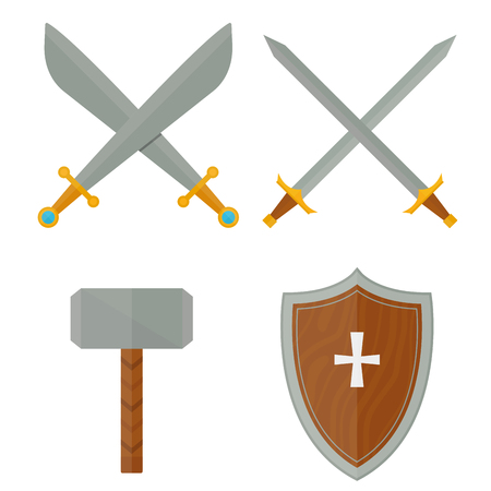 Knights symbols medieval weapons heraldic knighthood elements medieval kingdom gear knightly vector illustration.