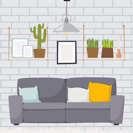 Furniture room interior design Illusztráció