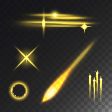 Glowing lights effect and stars vector illustration. Иллюстрация