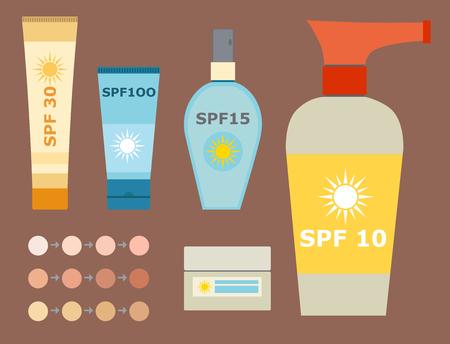 Cream sunscreen bottle vector Illustration