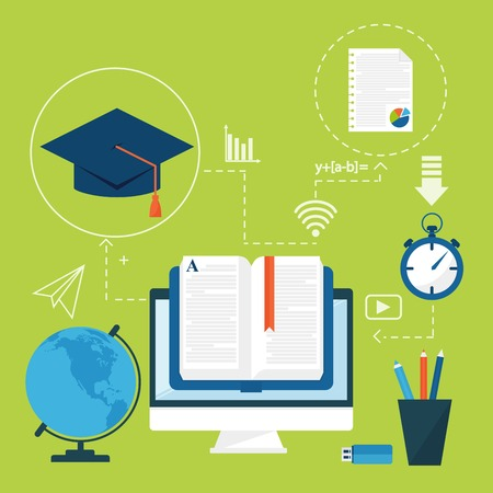 Online education vector staff training book store distant educationary icons learning knowledge illustration. Internet technology distance profession service web concept.