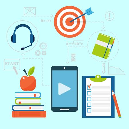 온라인 교육 벡터 직원 교육 책 저장소 먼 교육 아이콘 지식 그림 학습. 인터넷 기술 거리 직업 서비스 웹 개념입니다. 일러스트