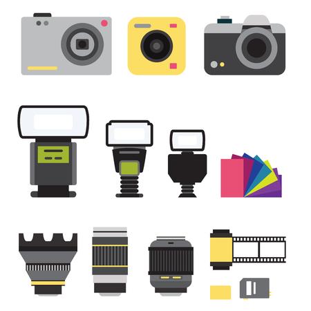 Camera fotostudio optische lenzen typen objectieve retro fotografie apparatuur professionele fotograaf kijken vectorillustratie. Digitaal vintage technologie elektronisch openingsapparaat. Stock Illustratie