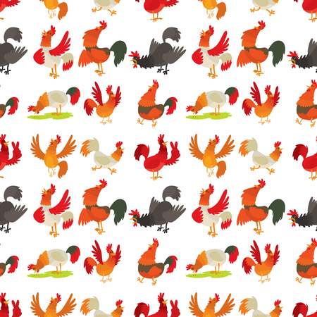 Cute cartoon rooster illustration chicken farm animal agriculture domestic character seamless pattern. Hen fowl color beak fowl cockerel organic background.
