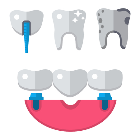 Dentist medical tools health care medicine instrument stomatology icons implantation clinic vector illustration. dental hygiene stomatology engineering. Oral clinical enamel ambulance equipment.