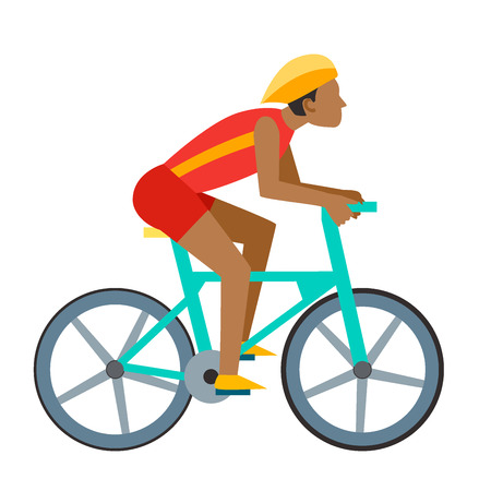 Racing vector bike people cyclist in action fast road biker man flat side front view illustration of cycling. Athlete sport competition motion summer rider character. Fitness pedal transport.