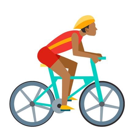 Racing vector fiets mensen fietser in actie snel weg biker man flat side vooraanzicht illustratie van fietsen. Atleet sport concurrentie beweging zomer rijder karakter. Geschikt pedaaltransport. Stock Illustratie