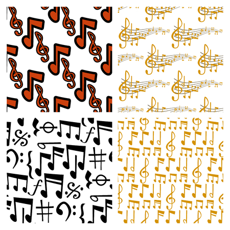 Notes music vector melody colorfull musician symbols sound notes melody text writting audio musician symphony illustration seamless pattern background. Иллюстрация