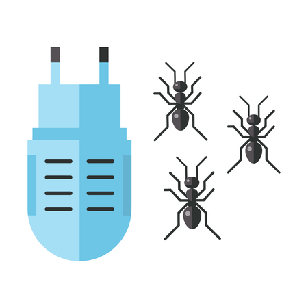Home pest control expert vermin ant exterminator service. Insect equipment icons, vector illustration. Stok Fotoğraf - 91368354