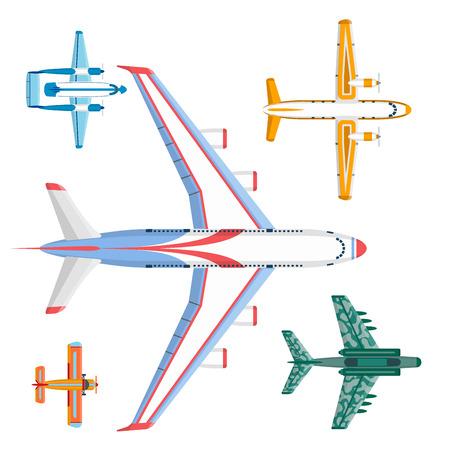 ベクトル飛行機イラストトップビューと航空機輸送の旅道設計速度航空。 写真素材
