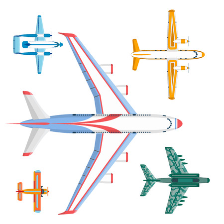 Vector airplane illustration top view and aircraft transportation travel way design journey speed aviation. Stok Fotoğraf