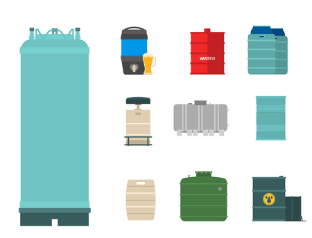 Oil drums container fuel cask storage rows steel barrels capacity tanks natural metal bowels chemical vessel vector illustration Stock Photo