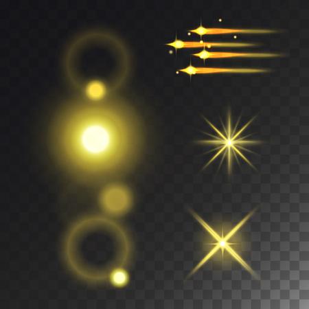 光るベクトルライト効果と星効果グローブラー星は、暗い透明な背景イラストレーションに隔離された輝きを放ちます。抽象的なグローブラースタ  イラスト・ベクター素材