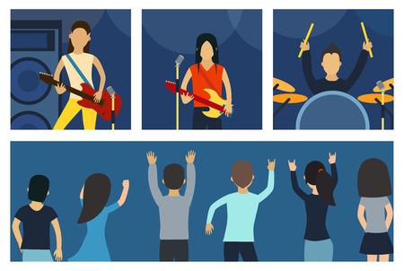 Rock concert set vector illustration