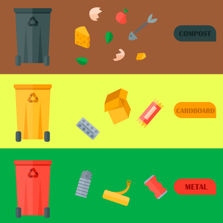 Waste recycling vector garbage cards waste types sorting processing treatment remaking trash utilize recycling icons illustration. Garbage boxes and bins.