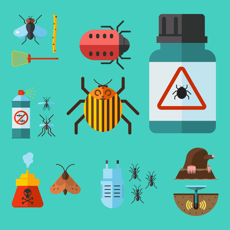 Home pest control elements illustration. Stok Fotoğraf - 91479726