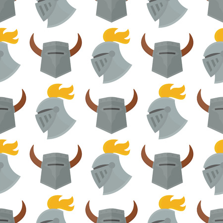 Knight helmet medieval weapons heraldic knighthood protection medieval kingdom gear vector illustration. Legendary armored warrior with lance knightly attributes seamless pattern background.