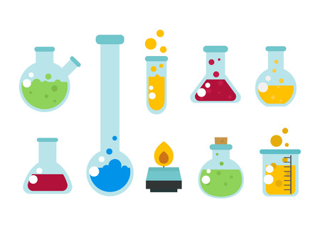 Chemical laboratory flask glassware tube liquid biotechnology analysis and medical scientific equipment chemistry lab experiment vector illustration. Research test science glass. Vectores