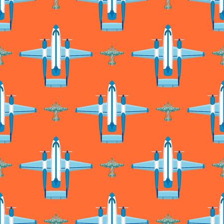 ベクトル飛行機イラスト飛行機旅客旅行や航空機輸送旅行への休暇空デザインの旅国際シームレスパターンの背景。商業ツアースピード航空。