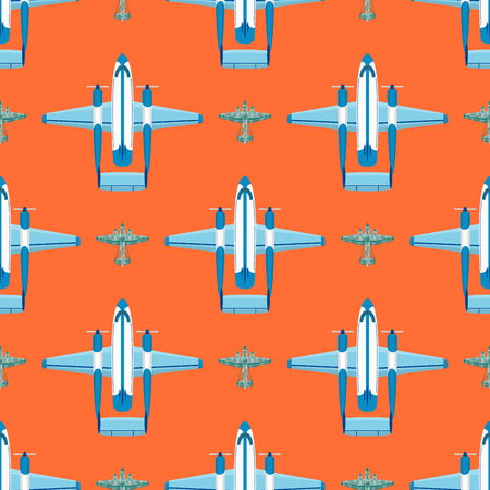 Vector airplane illustration plane passenger trip and aircraft transportation travel way to vacation sky design journey international seamless pattern background. Commercial tour speed aviation.