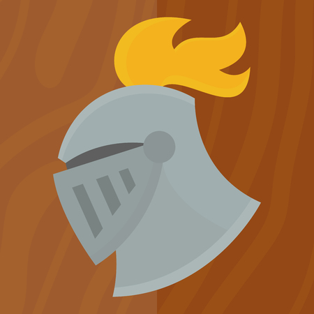 Knight helmet medieval weapons heraldic knighthood protection medieval kingdom gear vector illustration. Legendary armored warrior with lance and knightly attributes.