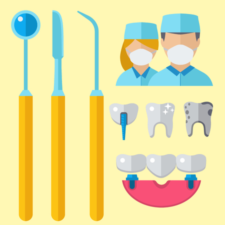 Dentist doctor character and stomatology equipment vector illustration. Medicine instrument and hygiene stomatology engineering symbols. Vectores