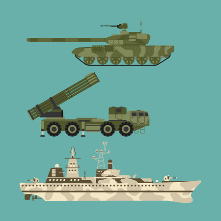 Military transport technic army war tanks industry technic armor system armored personnel army camouflage carriers weapon vector illustration. Fighting armed forces transportation.