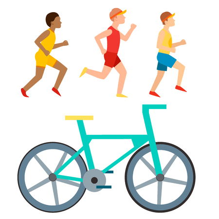 Athletic run vector man people jogging summer sport running people man and woman enjoying runner exercising their healthy lifestyle illustration. Young couple group running marathon sprinting vector.