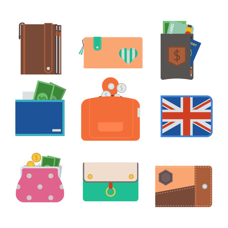 Purse wallet vector money shopping buy business financial wallets payment bag and wallet accessory trendy cash wealth illustration. Elegant trendy consumerism pocket. Illustration
