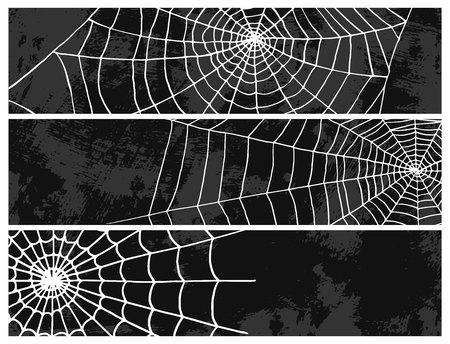 クモベクトルウェブシルエット不気味な自然ハロウィーン要素クモの巣飾り恐怖不気味なネット。クモが隔離されたウェブ。