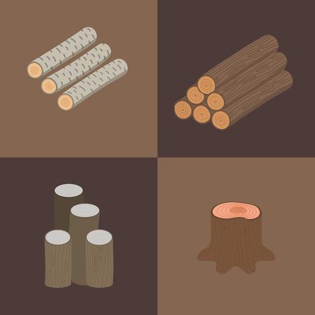 建設ビル用積層木材ベクトル松材カット木材切り株木材材料ベクトルイラスト。自然林山山ラフ樹皮パターン抽象構造。