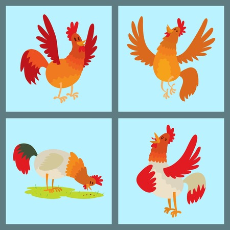 Cute cartoon rooster vector illustration chicken farm animal agriculture domestic bird rooster farm character. Stock Photo